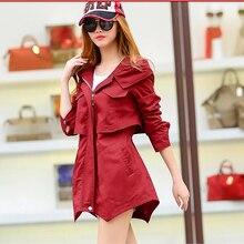 2016 women coat autumn spring fashion casual hooded windbreaker female overcoat