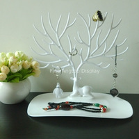 Multifunction White Plastic Tree Shaped Jewelry Stand For Earring Bracelet Necklace Ring Display Holder Desktop Organizer