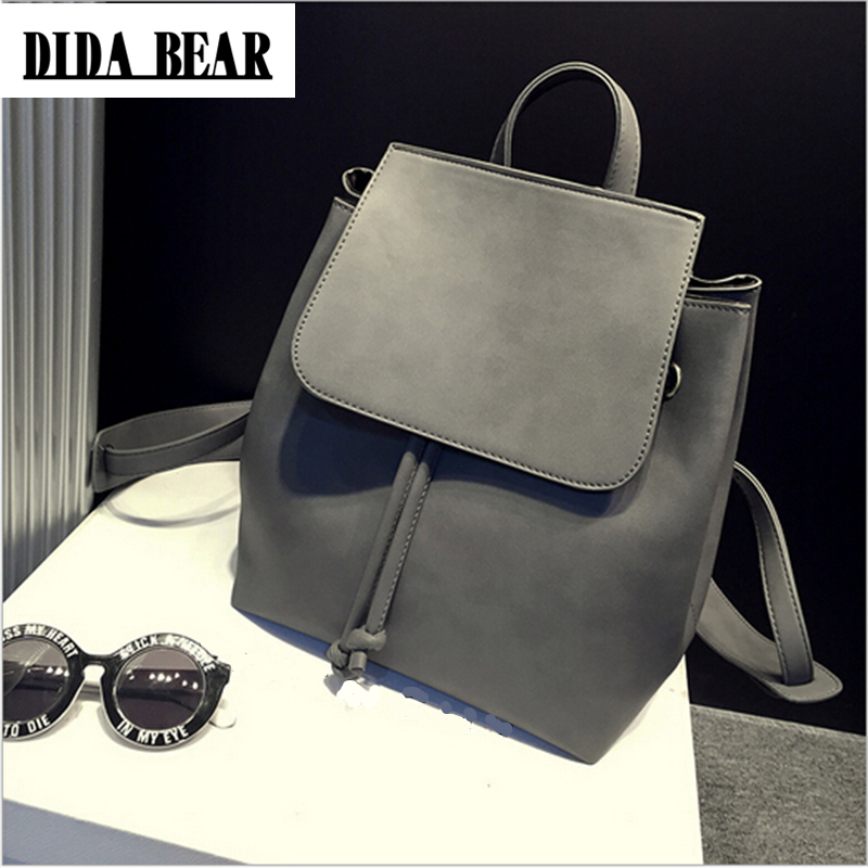 DIDA BEAR Fashion Women Leather Backpacks Bolsas Mochila Feminina Large Girl Schoolbag Travel Bag Solid Color Black Gray dida bear women leather backpacks bolsas mochila feminina girls large schoolbags travel bag sac a dos black pink solid patchwork