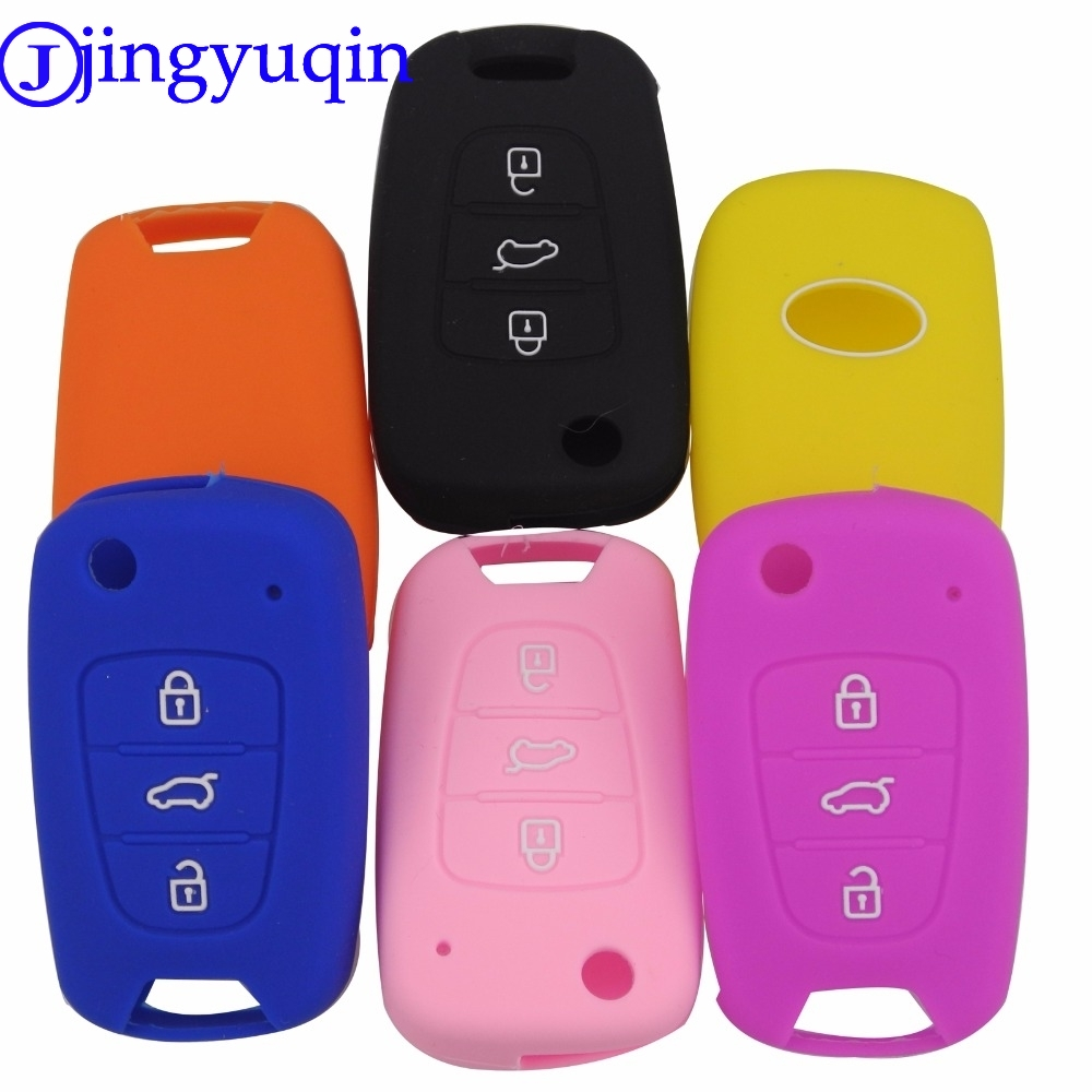 jingyuqin 3BTN Silicone Car Key Cover Case For Kia RIO K2 K5 Sportage Sorento For Hyundai i20 i30 i35 iX20 iX35 Solaris Verna maizhi 3 button flip folding car key shell for hyundai avante i30 ix35 kia k2 k5 sorento sportage key cover case styling