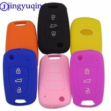 jingyuqin 3BTN silikon samochód klucz okładka Case dla Kia RIO K2 K5 Sportage Sorento dla Hyundai i20 i30 i35 iX20 iX35 Solaris Verna tanie tanio Żel krzemionkowy