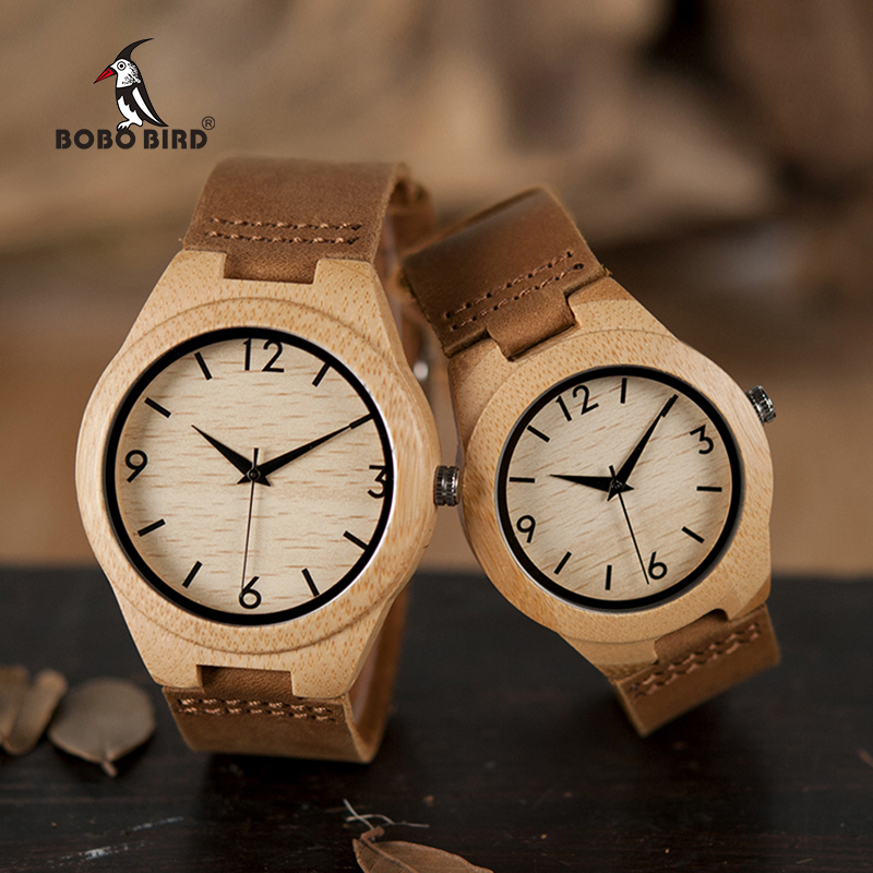 BOBO BIRD A31 Leather Wood Watches Men Women Lovers' Quartz Analog Watches Casual Cool Watch with Arabic Numerals bobo bird lovers dress wooden watches natural wood handmade cool wristwatches with real leather bands