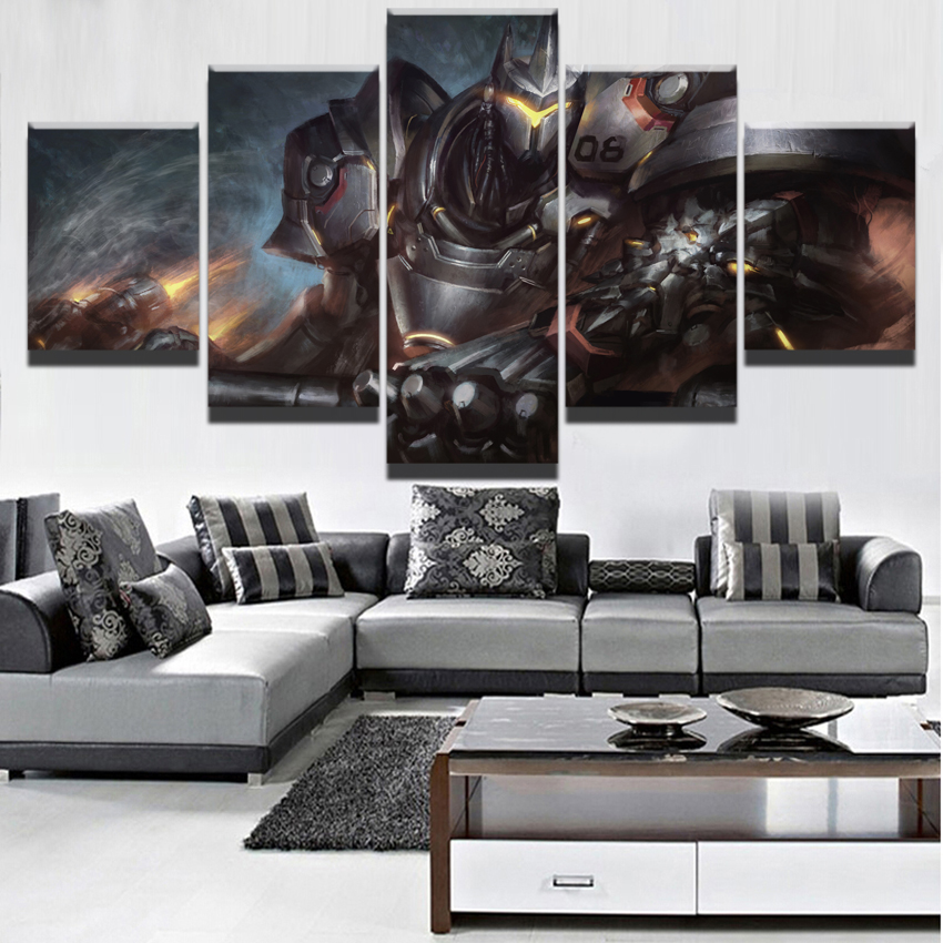 5 Panels HD Printed Overwatch Reinhardt Modern Home Wall Decoration Game Modular Picture Art Painting On Canvas For Living Room image