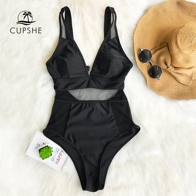 CUPSHE Sexy Black Mesh One-piece Swimsuit Women Solid V-neck Hollow Out Monokini 2019 Girl Slim Bathing Suit Swimwear