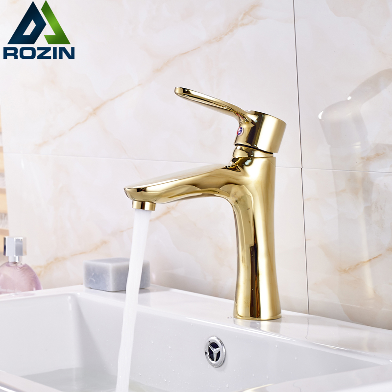 Free Shipping Single Lever Bathroom Short Basin Faucet Golden Brass Hot and Cold Lavatory Sink Mixer Taps Deck Mounted free shipping new design high quality brass material single lever basin faucet