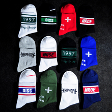 Men Cotton Funny Spring Autumn Socks Fashionable Letters Character Korean Street Solid Striped Crew Casual