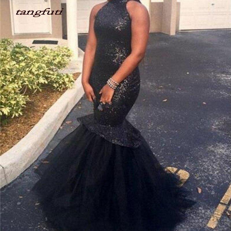 Black Sequins Mermaid   Evening     Dresses   Long African 2019 High Neck Floor Length Formal   Evening   Prom Gowns Wear Vestido De Festa