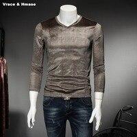 Korean Style Personality Striped Plaid Fashion Slim Long Sleeve T Shirt Spring Autumn 2017 Quality Gold