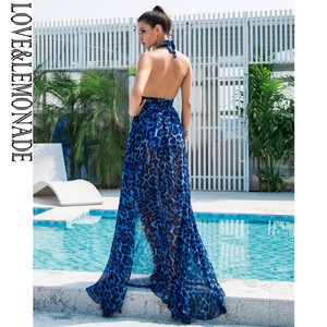 Image 5 - אהבה & לימונדה סקסי כחול צווארון V לפתוח בחזרה לגזור נמר שיפון ארוך שמלת LM81049