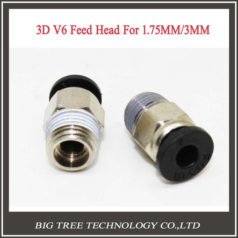 50 PCS 3D printer HOTEND j head 3D V6 Remote hot head Connector extruder feed 3mm