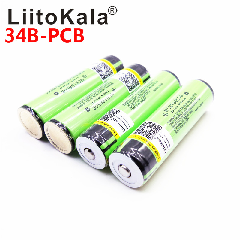 2019 Original LiitoKala Protected 100% Original NCR18650B 18650 3400mah Rechargeable Battery With 3.7V PCB For