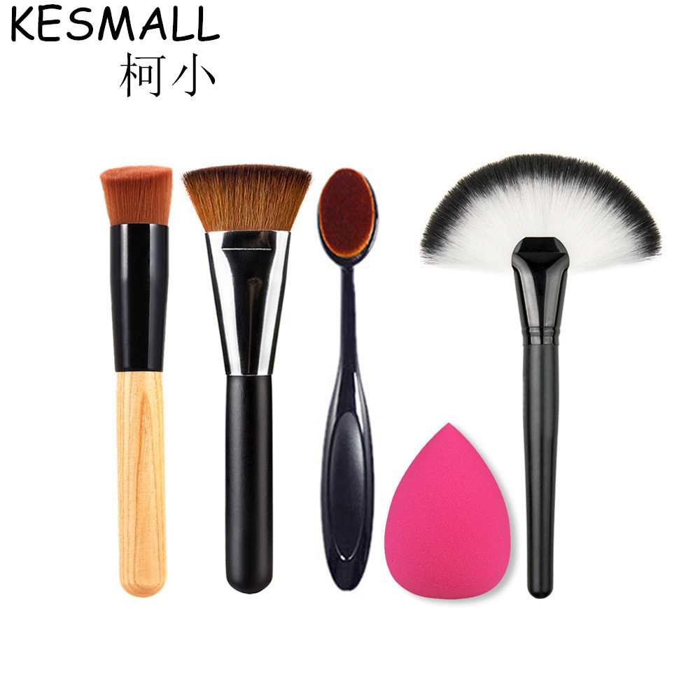 KESMALL 5pcs Makeup Brush Set Powder Foundation Travel Cosmetic Brushes Contouring Fan Makeup Brush Tools With Sponge Puff CO228 candy color calabash shaped cosmetic makeup cotton pads sponge puff pink