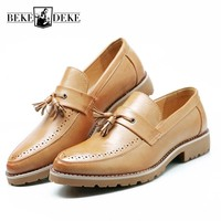 British Mens 2018 New Pu Leather Casual Shoes Block Low Heel Tassels Slip On Loafers Retro