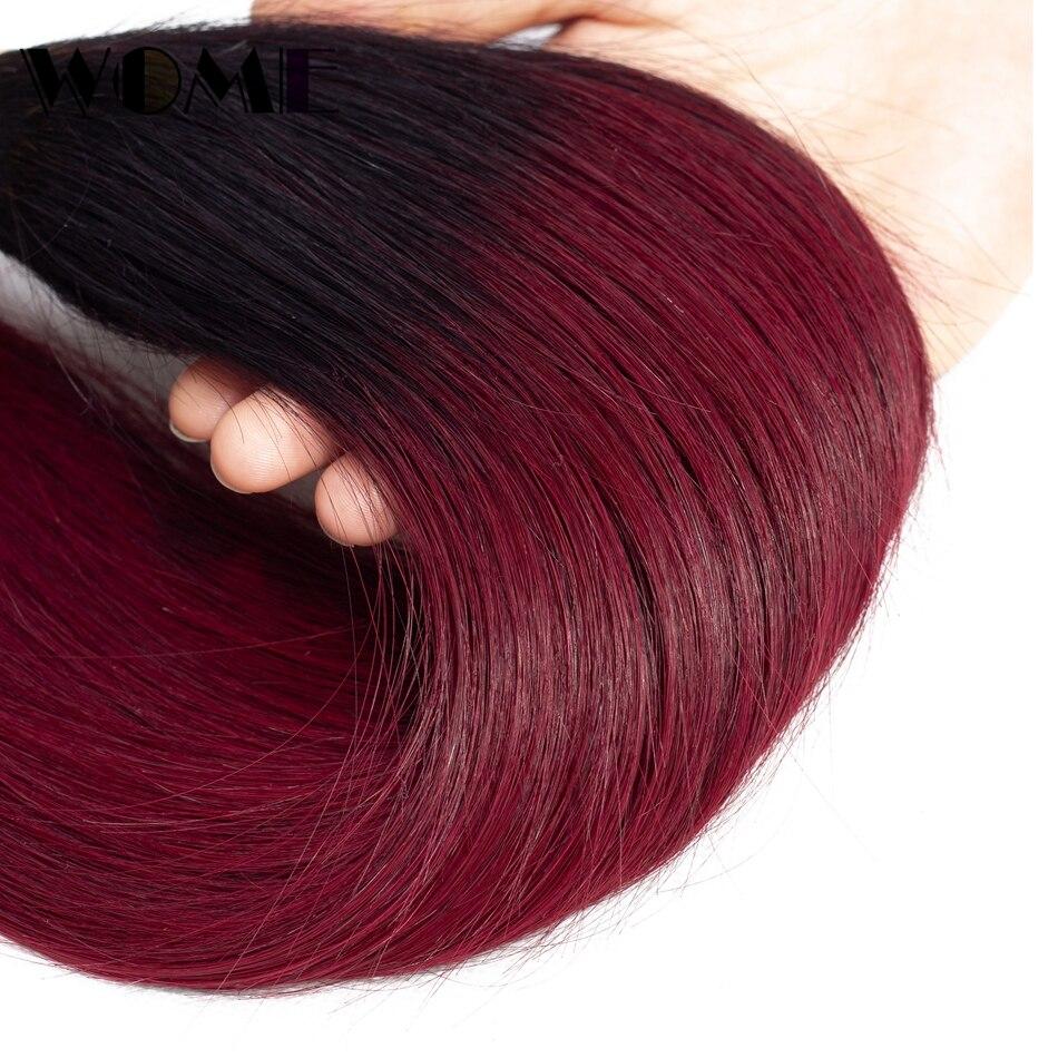 Wome Vietnamese Hair Weave Bundles T1b/99j Ombre Straight Human Hair 4 Bundles Black To Red Wine Color Hair Extensions Hair Weaves Human Hair Weaves