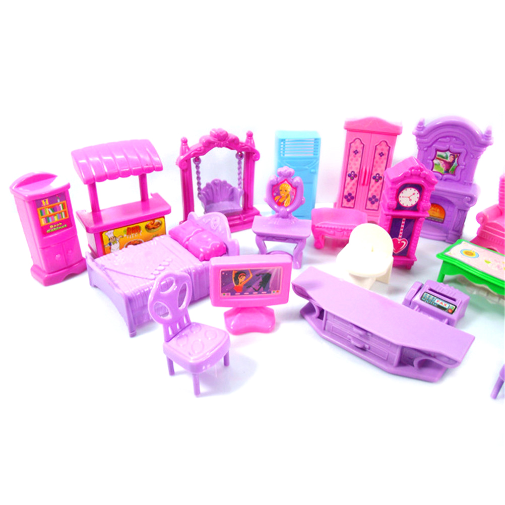 Hot Sale Pretend Play Toys Christmas Gift Plastic Furniture Miniature Rooms For Doll 22PCS/set 3D Dolls House Set Baby Kids-4
