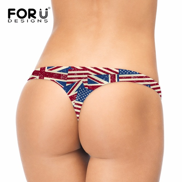 FORUDESIGNS G-string Women Sexy T-back Underwear 3D USA Flag Comfort Girls  Panties For Ladies Female Low Waist Intimate Panty