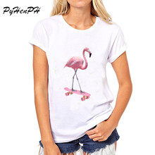New 2017 Brand Fashion Skate flamingo Printed T shirt women Short sleeve tops funny cool High Quality t-shirts women clothing
