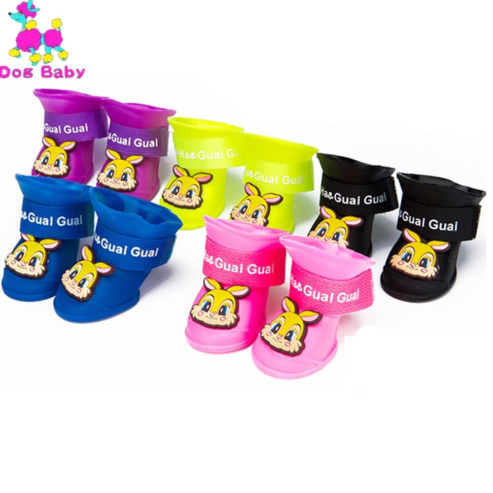 DOGBABY Värikäs koiran saappaat PU kumi vedensuoja-lemmikkieläimet Kengät 4kpl / setti Pienet koirat Kengät 8 väriä saatavilla Lemmikkieläimet Rian kengät