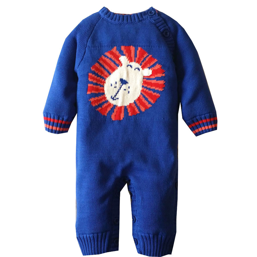 baby boy girl rompers 2017 new baby rompers winter thicken warm newborn baby clothes cartoon lion kintted infant jumpersuit