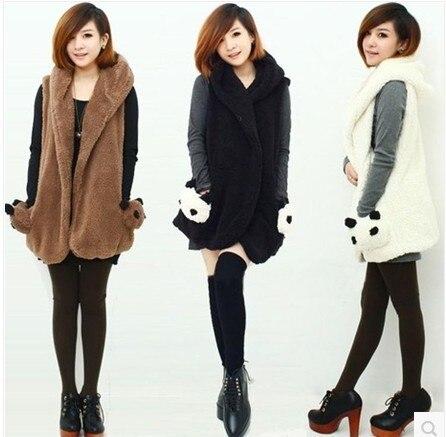 Free Shipping  Fashion Womens  Hoodie Faux Lamb Fur Long sleeveless panda plush vest jacket hooded vest waistcoat