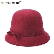BUTTERMERE Wool Fedora Hat Women Burgundy Elegant Ladies Felt Bowtie British Style Winter Female Vintage Top Multi Color