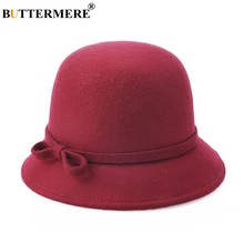 BUTTERMERE Wool Fedora Hat Women Burgundy Elegant Ladies Felt Hat Bowtie British Style Winter Female Vintage Top Hat Multi Color(China)