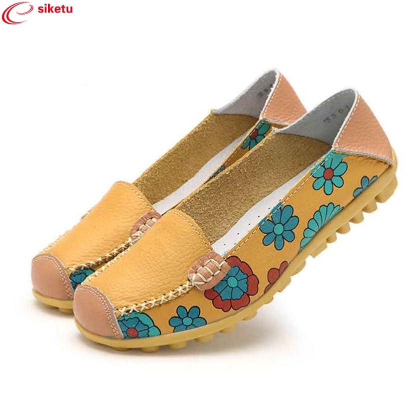 Travel Nice siketu 2017  New Women Leather Shoes Loafers Soft Leisure Flats Ladies Female Casual Shoes Best Gift 17JUN8517JUN8 charming nice siketu best gift baby flats tassel soft sole cow leather shoes infant boy girl flats toddler moccasin y30