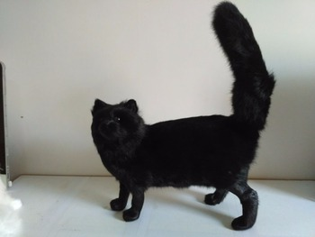 simulation black cat 32x12x37cm model,polyethylene&furs cat handicraft,props,home decoration gift p0808
