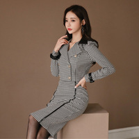 2 piece outfits for women new OL professional temperament suit collar color matching Slim houndstooth fashion bag hip skirt suit
