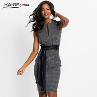Kaigenina New Arrival Plaid Dress Tight Sexy Belt High Street Stand Collar Office Lady Business Casual