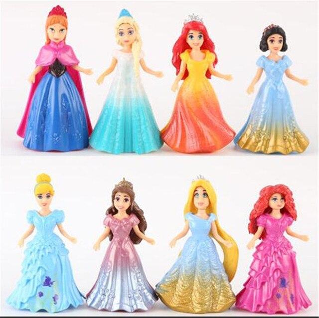 8 шт./компл. принцессы Игрушечные лошадки Ариэль Белоснежка Аврора красавица Золушка ПВХ фигура Игрушечные лошадки подарок для девочек