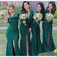 New Arrival 2016 Custom Dark Green Mermaid Sexy Slit Bridesmaid Dress V Neck Long Sleeve Bridesmaid