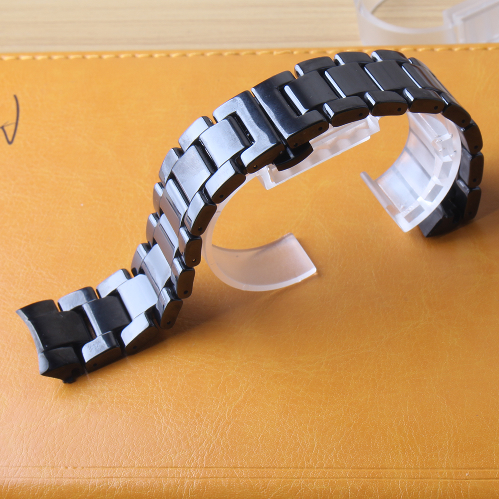 Bracelets de montre haute qualité 22mm en céramique polie bracelet de montre pour Samsung Gear S3 remplacement Galaxy 46mm mode style solide lien noir