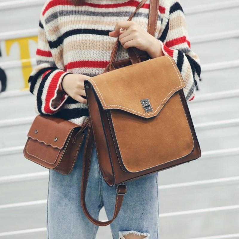 Vintage Women School Backpack British Style Fashion Rucksack PU Leather Lady Two Piece Set Fresh Satchel Schoolbag Mochila