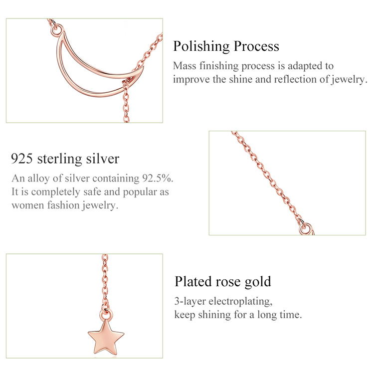 HTB1sc6laX67gK0jSZPfq6yhhFXak BAMOER New Arrival Fashion 925 Sterling Silver Moon and Star Tales Chain Link Pendant Necklaces for Women Fine Jewelry SCN108