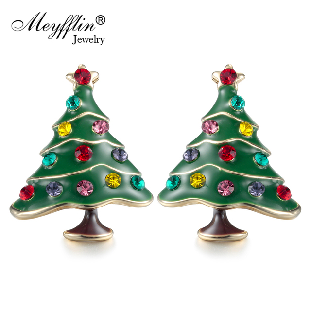 christmas crystals earrings plated silver tree nl rhodium with