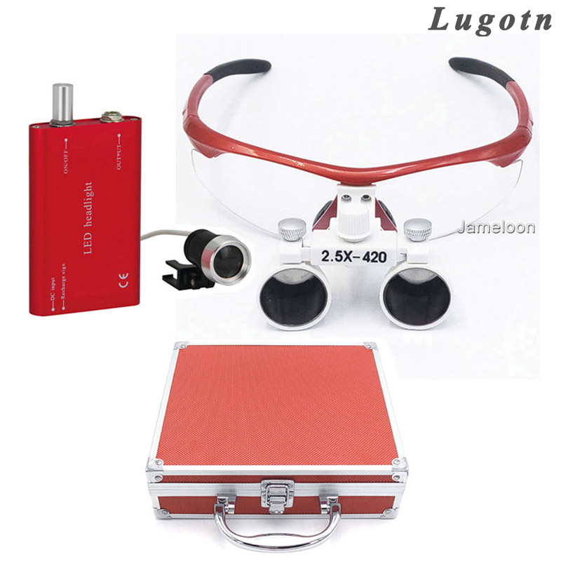 Metal box 2.5X enlarger glasses red color surgical magnifying dental loupe with led headlight operation magnifier lens 2 5x times enlargement magnifying lens loupe glasses surgical operation magnifier adjustable sizable dental loupe