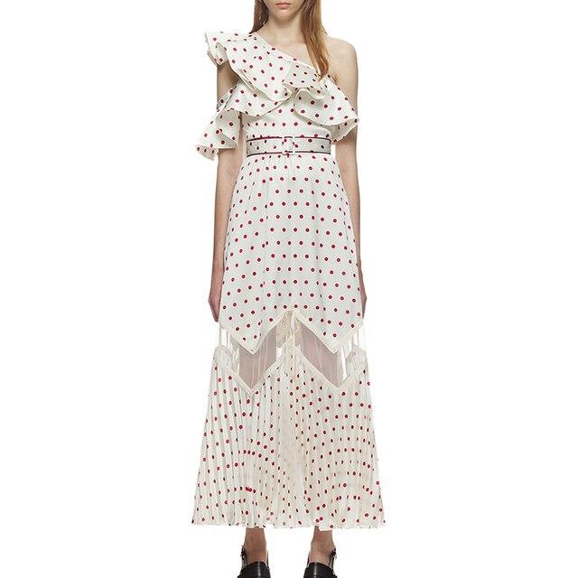 99d61b417e8b Self Portrait Dress 2018 Women Summer Vintage Ruffles Off Shoulder Red Dot  Printed Mesh Patchwork Long Dress Vestidos
