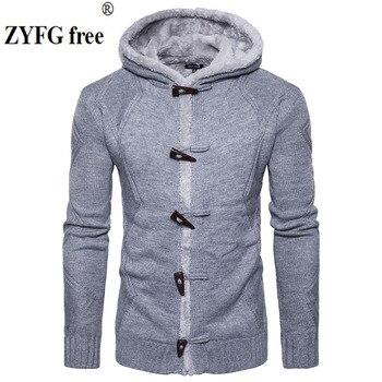 2017 New style jesień zima casual kosmków Wewnętrzna sweter w paski męskie ogrzać krajowe wiatr Sweter Z Kapturem płaszcz przycisk Klaksonu