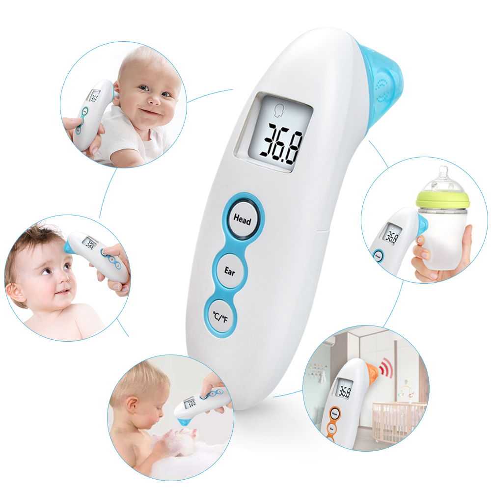 ELERA Non Contact Baby Thermometer Digital Infrared thermometer for Baby Forehead Ear Measurement with Fever Alarm