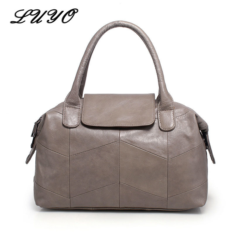 LUYO Genuine Leather Women Leather Luxury Handbags Women Messenger Bags Designer Girl Shoulder Crossbody Big Bag For Female Tote qiaobao 100% genuine leather women s messenger bags first layer of cowhide crossbody bags female designer shoulder tote bag