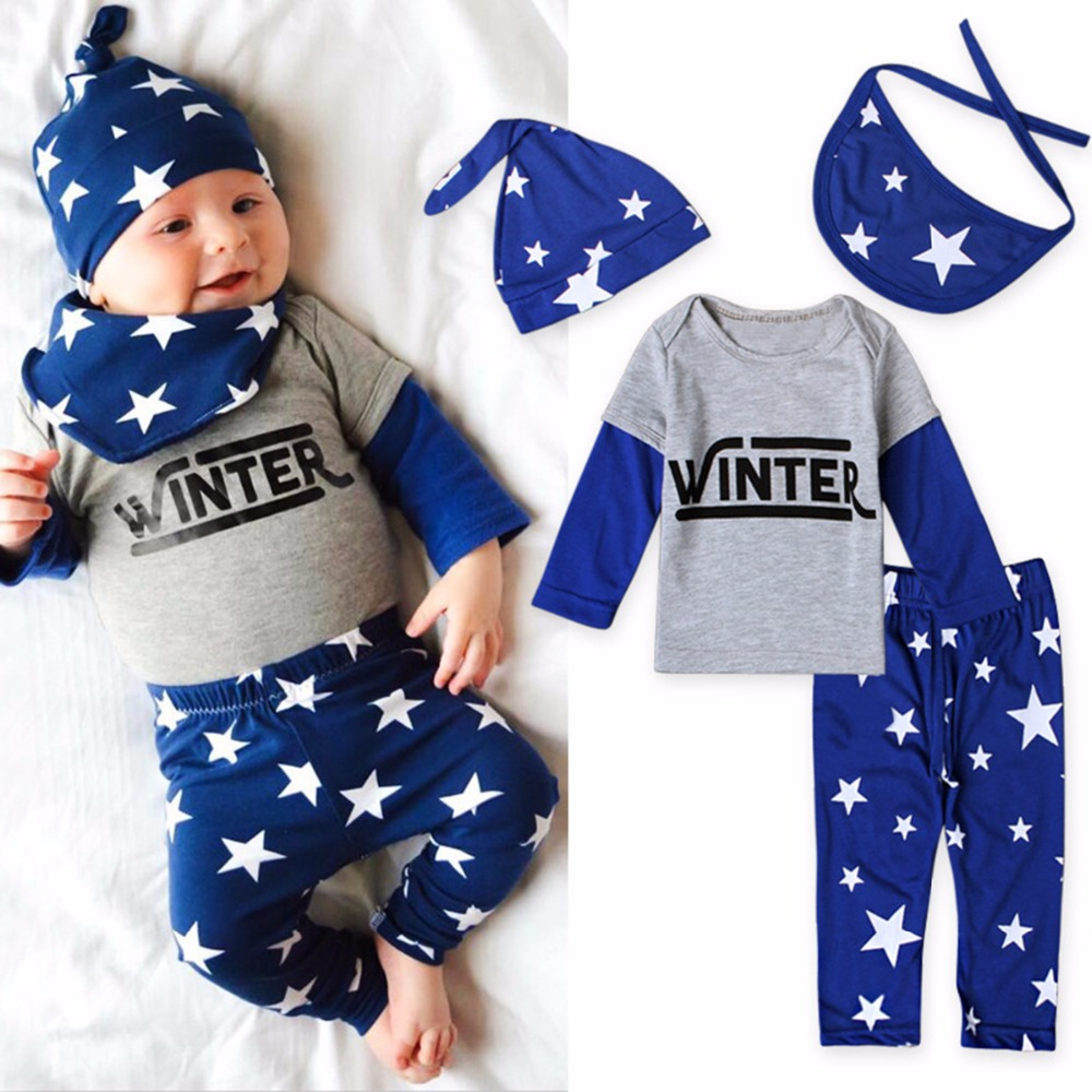 2017 Spring Newborn Baby Boy Girl Clothing Set Letter Print Tops Pants Bib Hats 4Pcs Infant Clothes 0-24M Baby Clothes 5 pcs newborn baby boy girl clothing set cotton cartoon monk tops pants bib hats infant clothes 0 3 months
