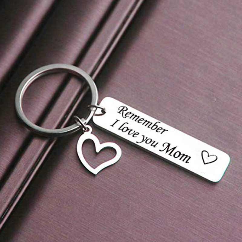 Hãy nhớ TÔI Yêu Bạn Mẹ Cha Trái Tim Đính Keychain Nhẫn Thư Mặt Dây Chuyền Móc Chìa Khóa Cho Mẹ của Ngày của Cha quà tặng Trang Sức