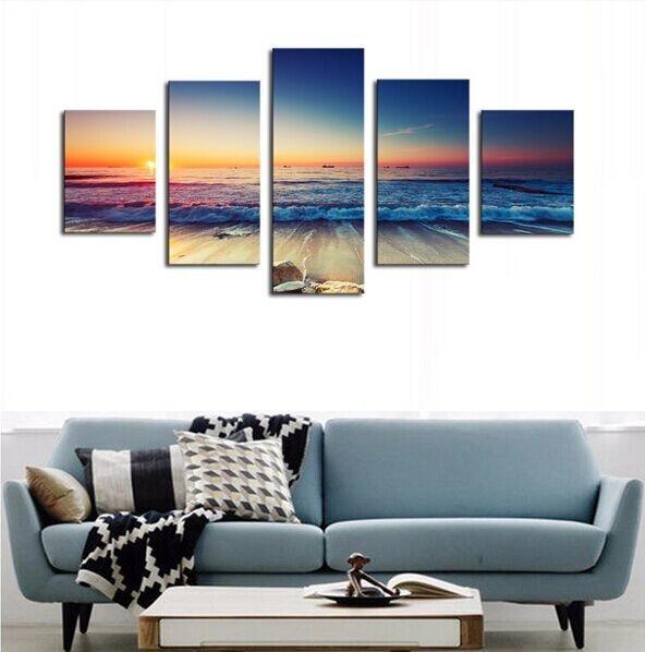 5 panel plakatlar çap kətan dəniz mənzərəsi gün batımı - Ev dekoru - Fotoqrafiya 4