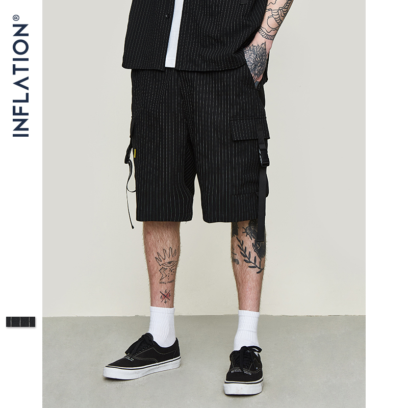 INFLATION 2019 SS Collection Men Rock Hip Hop Shorts Ribbons Striped Cargo Shorts Mens Black Casual Streetwear Short Pants 9318S