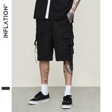 Inflação 2020 ss coleção men rock hip hop shorts fitas listrado carga shorts dos homens preto casual streetwear calças curtas 9318 s