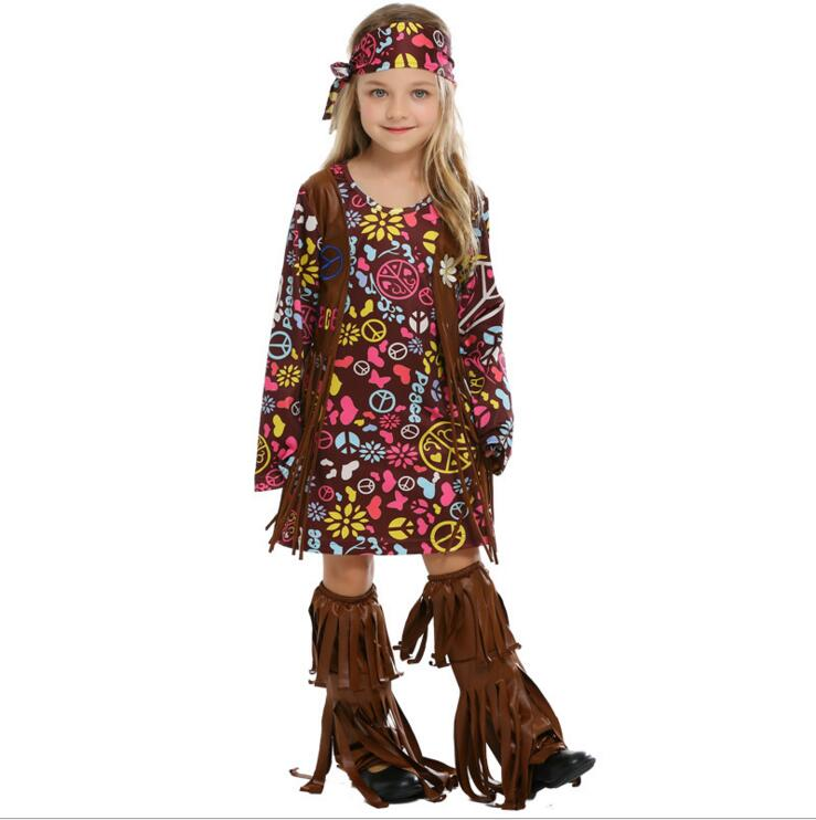 60s 70s Retro Hippie Singer Cosplay American Native Indians Costume for Kids Girl Women Halloween Carnival Dress S M L