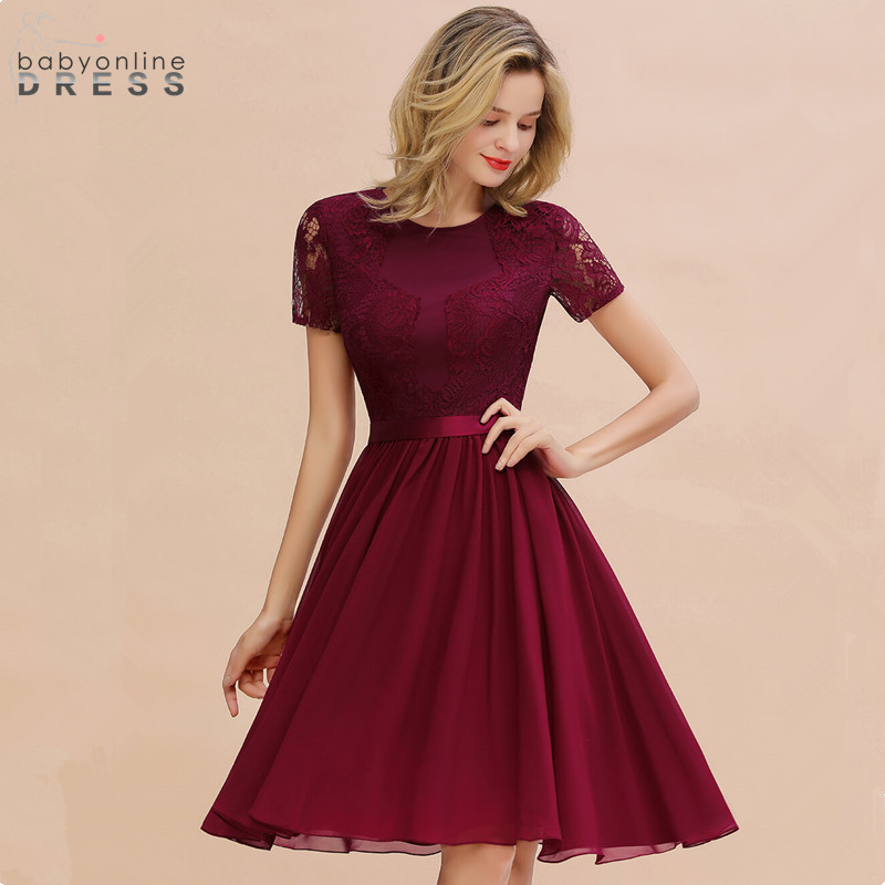 Robe de Soiree Courte Chic Burgundy Lace Short   Evening     Dress   Elegant A Line Short Sleeve   Evening   Gowns Vestido de Festa