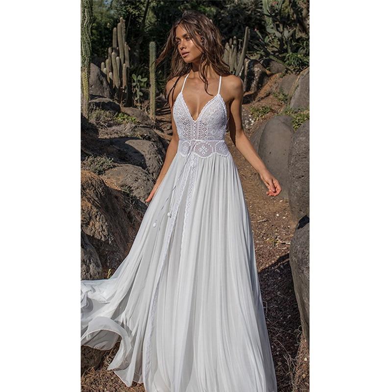57d754e32cae Ordifree 2019 Summer Boho Women White Lace Beach Dress Floor Length  Bohomian Sexy Maxi Long Chiffon Dress
