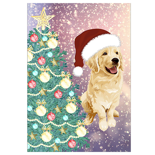 Merry Christmas Garden Flag Cute Puppy Cat Dog Printed Decorative Flags  Double Sided Printed Banners For